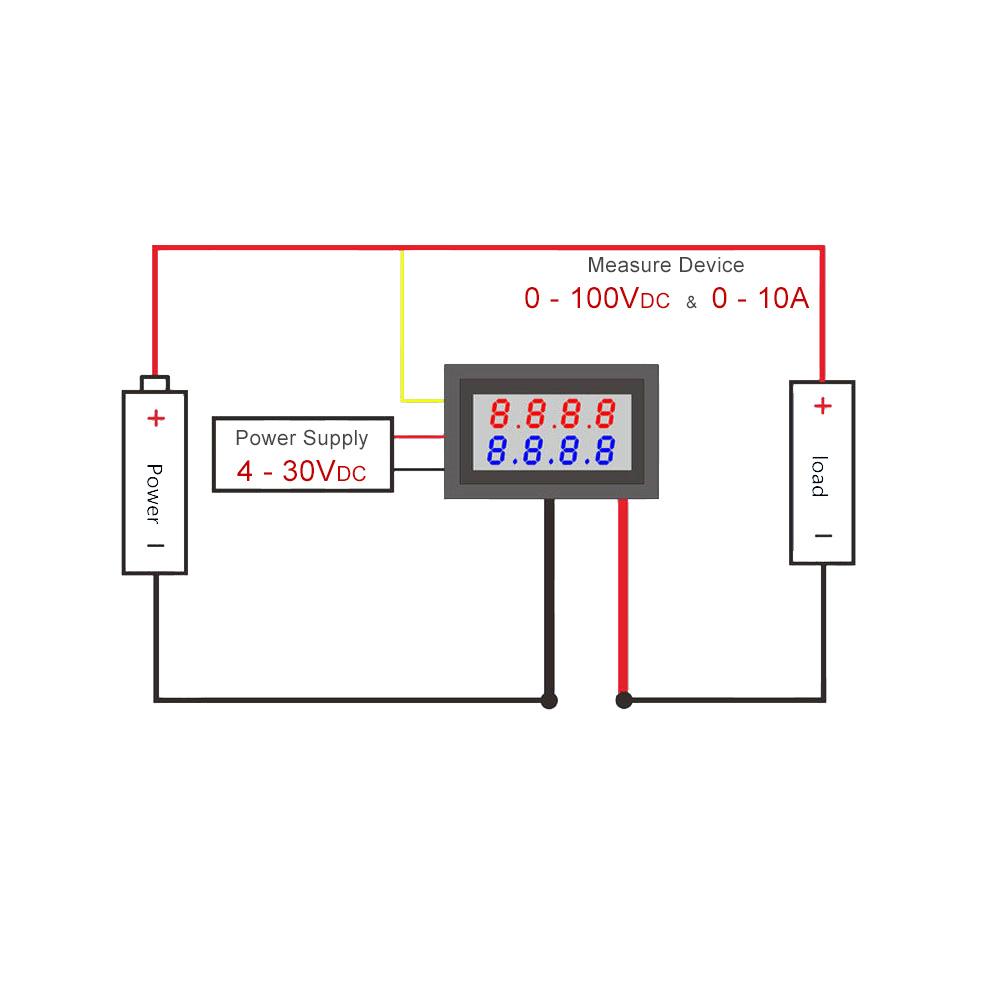 Voltmetro voltometro amperometro digitale da pannello 100V 10A modulare modulo 6