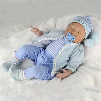 """Realistic Reborn Baby Dolls 22"""" Lifelike Vinyl Silicone Newborn Boy Doll+Clothes 2"""