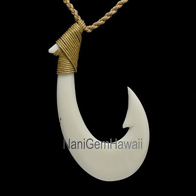 25 5mm Hawaiian Carved Water Buffalo Bone Makau Fish Hook Coconut Necklace 18 5