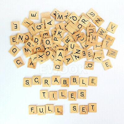 200PCS Wooden Alphabet Scrabble Tiles Black Letters & Numbers For Crafts Wood 11