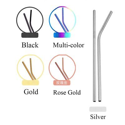 4 Pcs Stainless Steel Metal Drinking Straw Reusable Straws + Cleaner Brush Kit 5