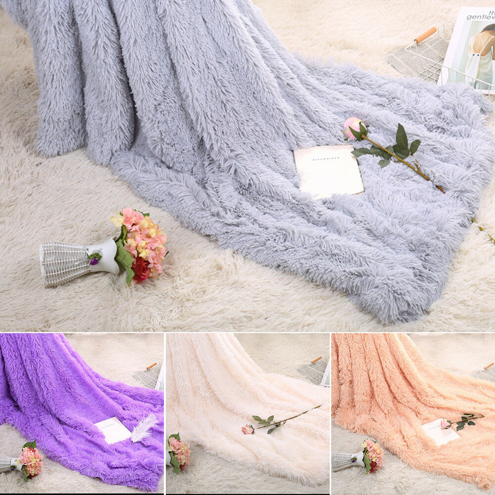 Faux Fur Blanket Long Pile Throw Sofa Bed Super Soft Warm Shaggy Cover Luxury 2