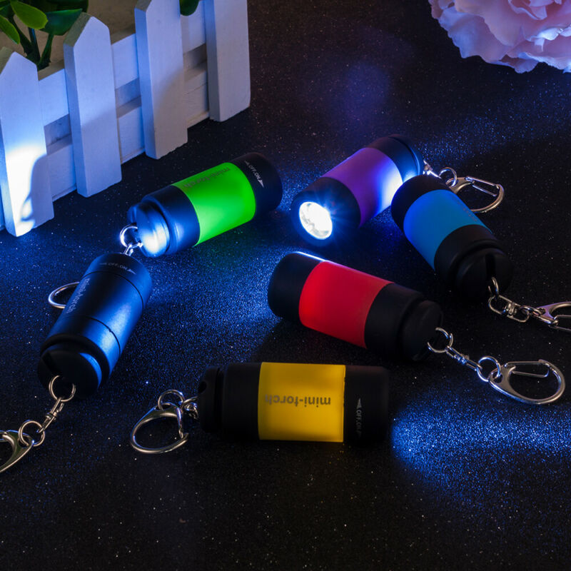 Mini LED Light USB Rechargeable Flashlight Lamp Pocket Keychain Torch Waterproof 6