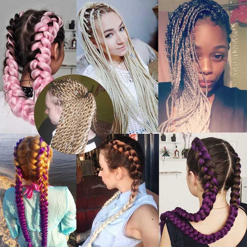 "5 Bundles 24"" 100g Ombre Xpression Jumbo Braiding Afro Hair Extensions as human 12"