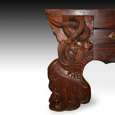 Rare Antique Chinese Qing Shanxi Brick Elm Wood Altar Table Serpent 18Th C. 2