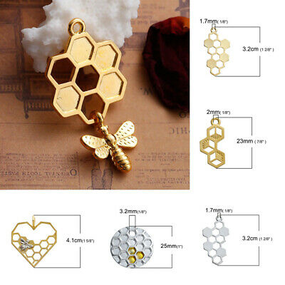 Honeycomb 24mm Gold Plated Enamel Honey Bee Charms C1384-2 5 Or 10PCs