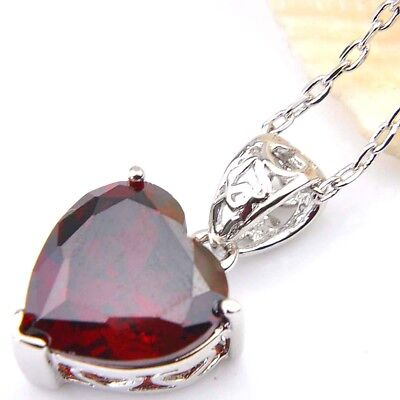 Genuine Natural Heart Fire Red Garnet Gemstone Platinum Plated Necklace Pendant 4