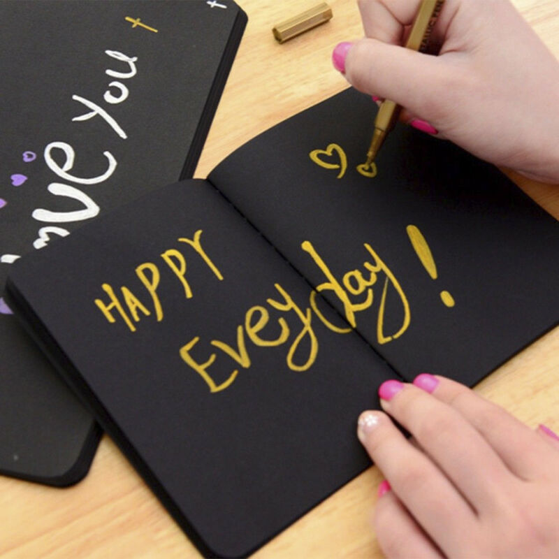 56K Black Paper Graffiti Notebook Sketch Book Diary For Painting Notepad Drawing 6 6 of 12 ...
