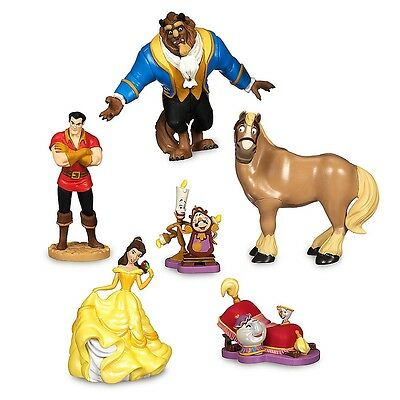 Disney Beauty And The Beast Figurine Playset 6 Piece Cake Toppers