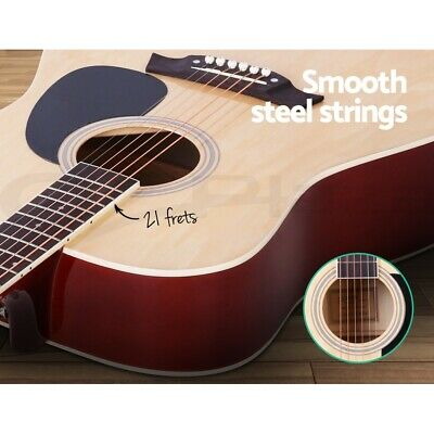 "Alpha 41"" Inch Wooden Acoustic Guitar Classical Folk Full Size w/ Bag Capo Blue 5"