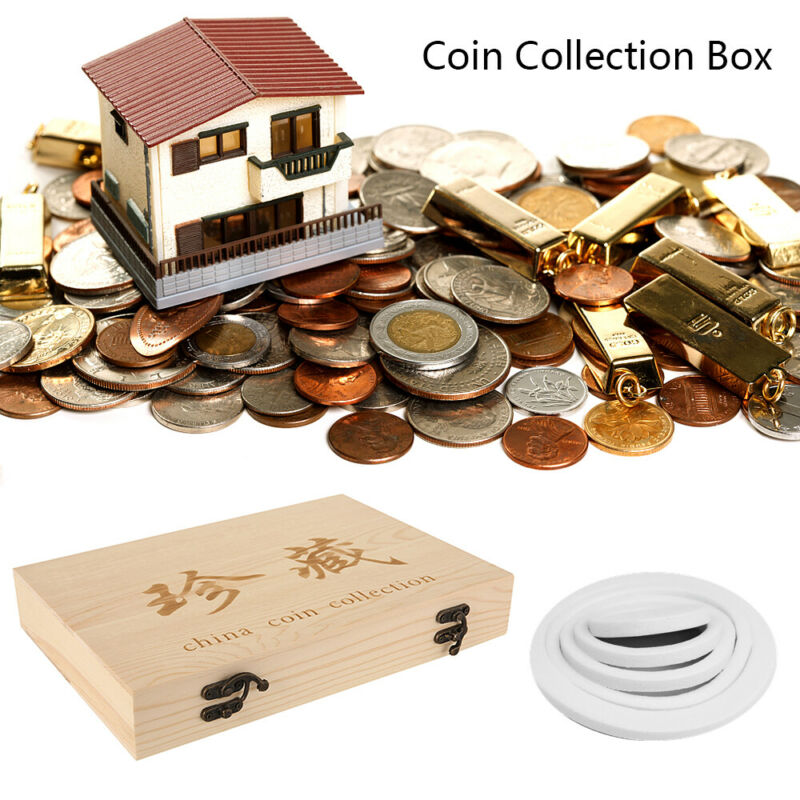Wooden Coins Display Storage Box Case for Collectible Coin With 100 Capsules mk 4