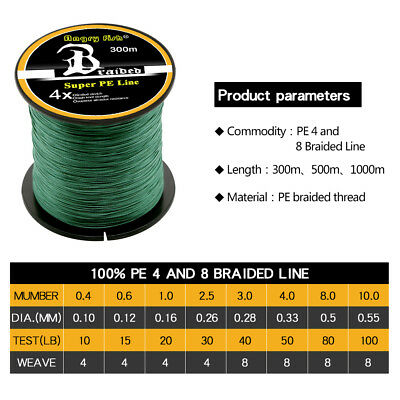 Super Strong PE Spectra Braided Fishing Line 4/8 Strands 300/500/1000M 12-100LB 2