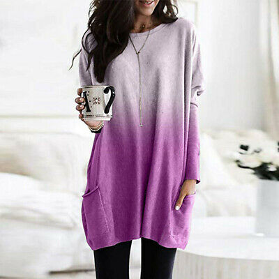 Womens Long Sleeve Baggy Tunic Tops Ladies Loose Jumper Pullover Blouse Jersey 4