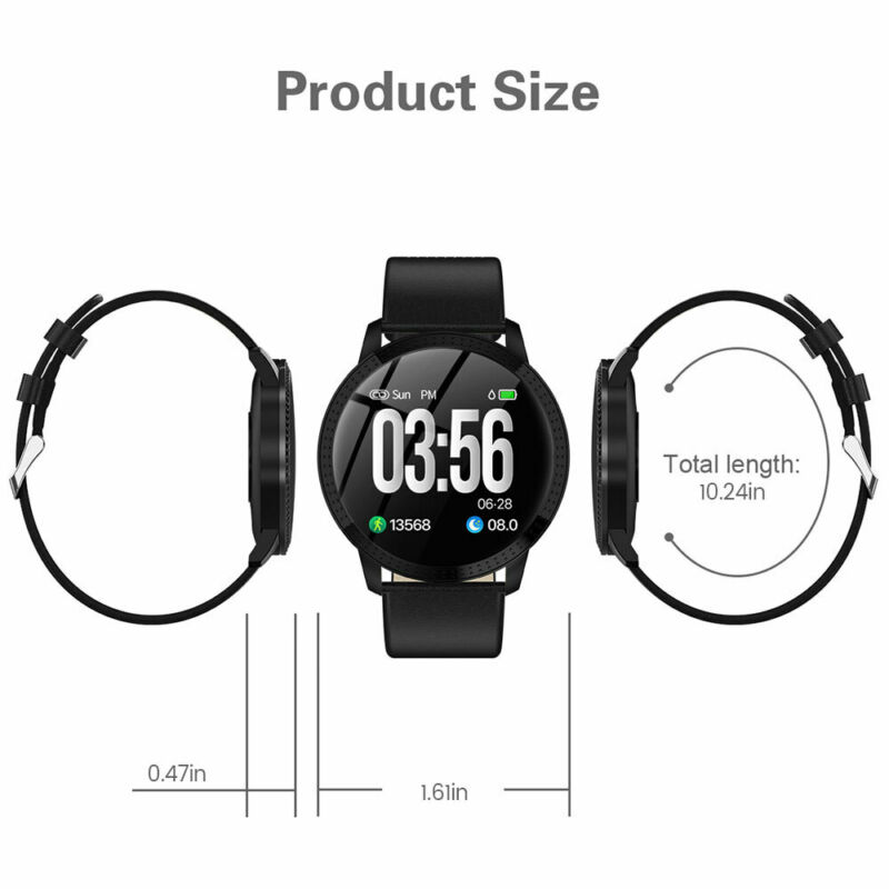Waterproof Smart Watch Fitness Tracker Blood Pressure Heart Rate Tempered Mirror 12