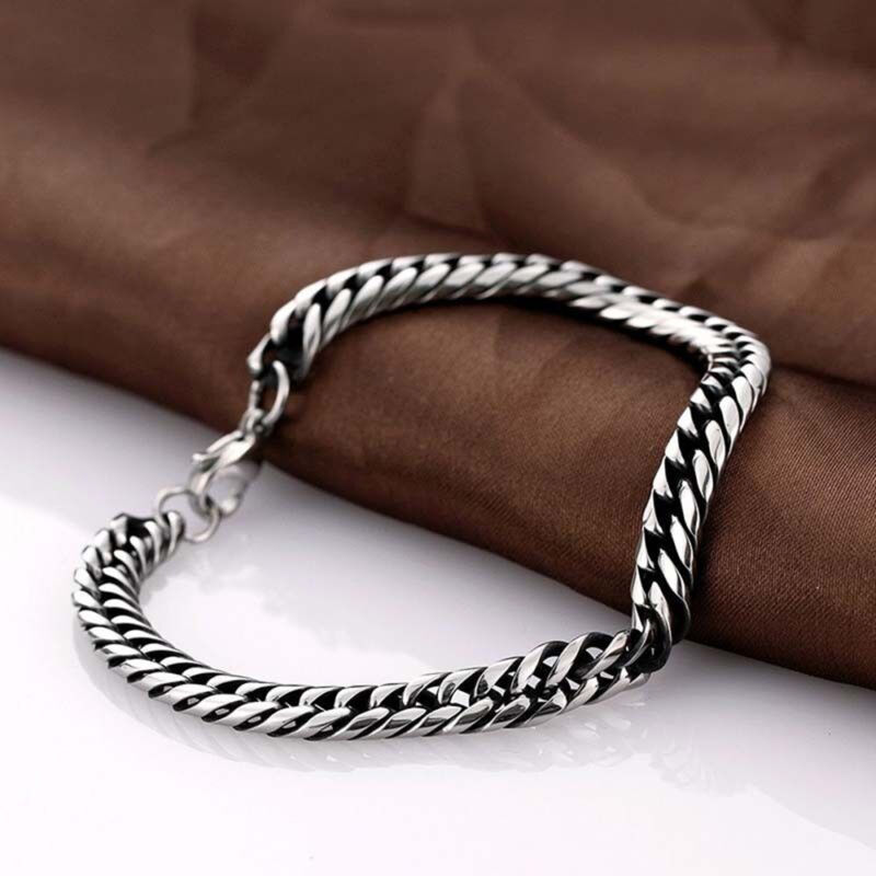 Men's Stainless Steel Silver Chain Link Bracelet Wristband Bangle Jewelry Punk 5