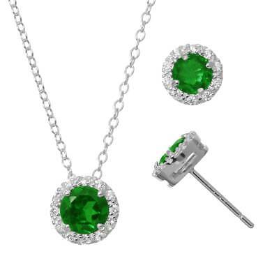 925 Silver Lab-Created Emerald & Cubic Zirconia Pendant Earring Set & Necklace 2