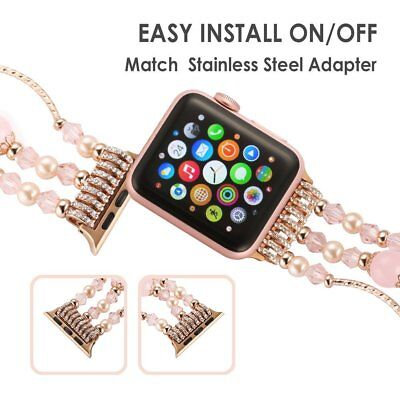 For Apple Watch Series 5 4 44MM Bling Agate Beads Strap Bracelet Band iWatch 2 3 4
