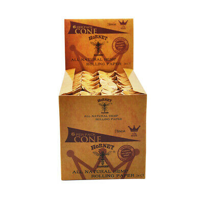 24 Packs 78MM-144 Cones AUTHENTIC HORNET Rolling Paper Pre-Rolled Classic Cones 5