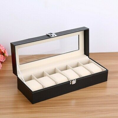 6 Grids Leather Watch Display Box Case Jewelry Collection Storage Organizer 9