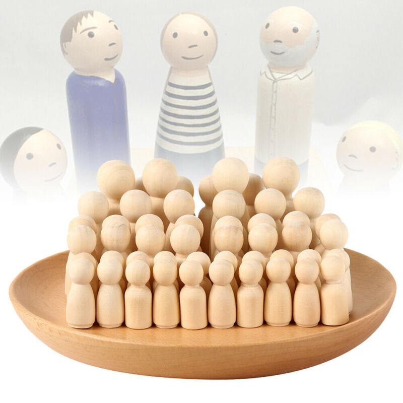 50PCS DIY Wooden Peg Doll Unfinished Family People Wedding Craft Man/Lady/Kids 3
