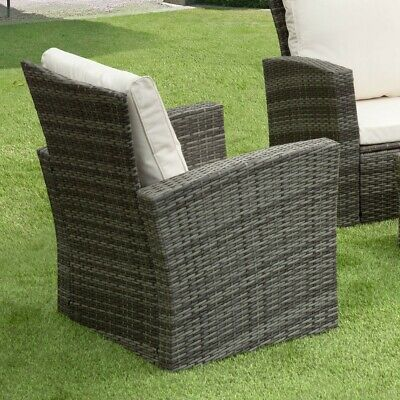 GSD Rattan Garden Furniture 4 Piece Patio Set Table Chairs Grey Black or Brown 6
