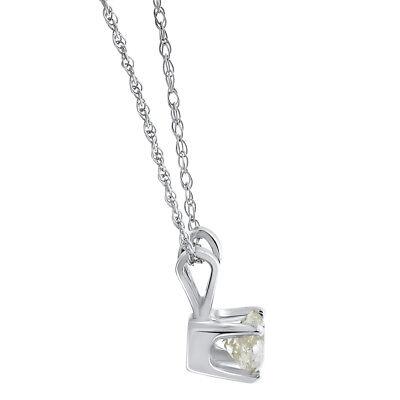 Diamond Solitaire Necklace & Studs Earrings Set 3/4 Carat tw 14K White Gold 2