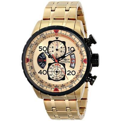 Invicta 17205 Mens Aviator Chrono Gold Tone Dial Gold Tone Steel Bracelet Watch 3