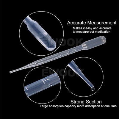 100/200/300 Durable Use 3ML Disposable Plastic Eyedroppers Pipette Eye Droppers 4