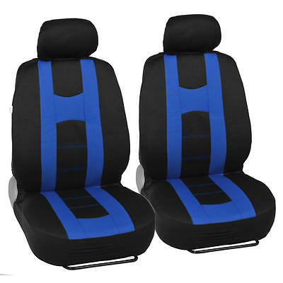 2 Of 12 Complete Set Car Seat Covers And Tone Vinyl Mats Black Blue Front Rear