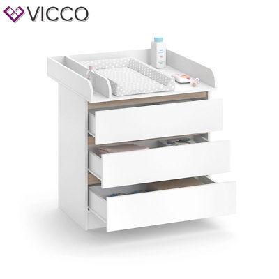 VICCO Wickelkommode Emma - Baby Wickeltisch Kommode mit 3 Schubladen Weiß Sonoma 7