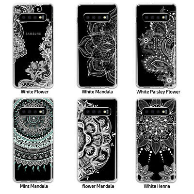 Galaxy S10 Plus S9 S8 Plus S7 Shockproof Slim Clear Case Mandala Henna Cover 2