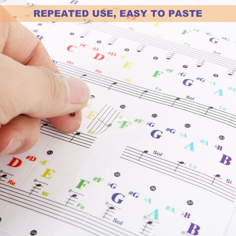 49/61/76/88 Colorful keys Music Keyboard Piano Stickers Set Removable Stickers 10
