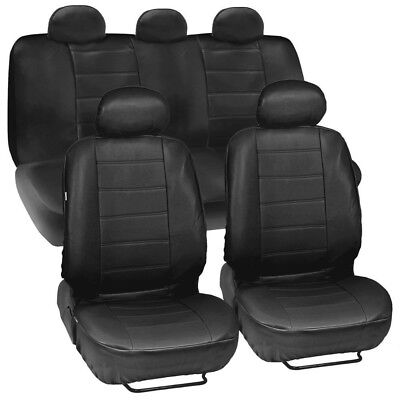 9pc Black Car Seat Cover Faux Leather Cushion Front&Rear Full Protector Mat Set 4