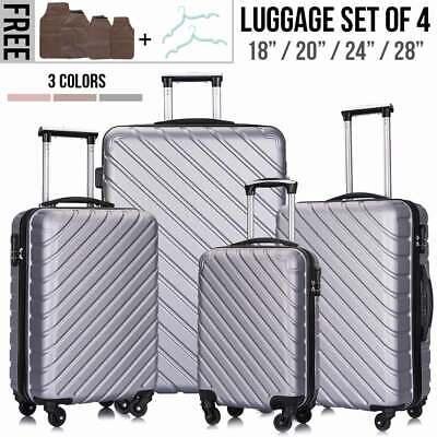 4 Piece Nested Travel Luggage Set Lightweight Suitcase Spinner Hardshell w/Lock 4