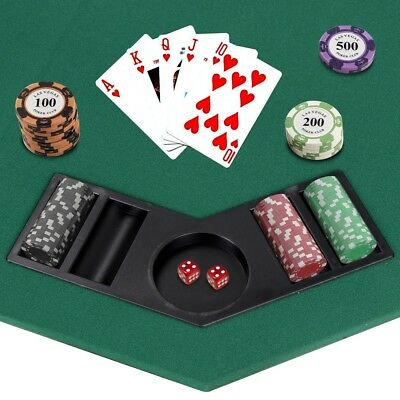 """48"""" Folding Octagon Poker Card Game Table Top w/Cup Chip Holders Blackjack Party 4"""