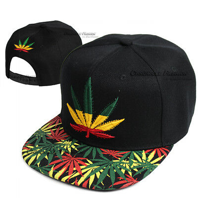 c582684b57b ... Baseball Cap Snapback Hip Hop Hat Weed Leaf Pot Cannabis Marijuana  Adjustable 8