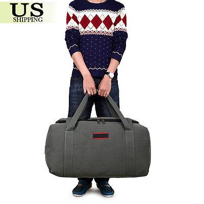 Men's Military Canvas Leather Gym Duffle Shoulder Bag Travel Luggage Handbag 7