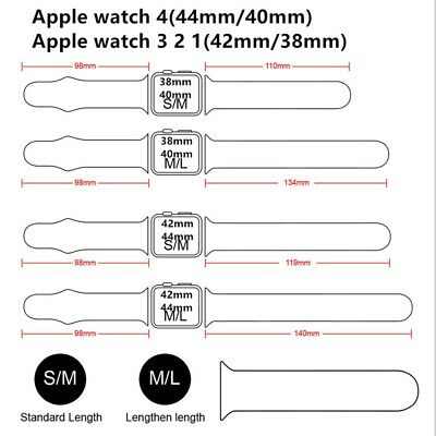 38/42mm 40/44mm Silicone Sports Apple Watch Band Strap for iWatch Series 4 3 2 1 6