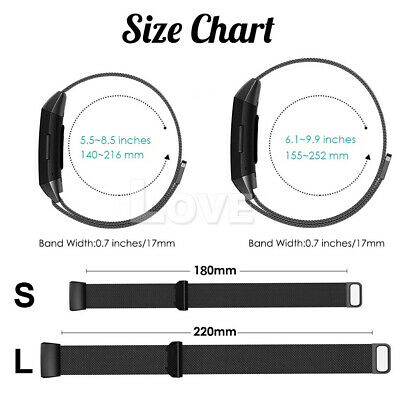 For Fitbit Charge 3 Strap Replacement Milanese Watch Band Stainless Steel Magnet 5