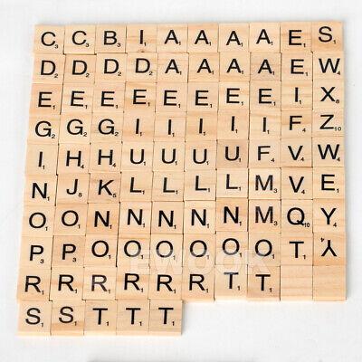 200PCS Wooden Alphabet Scrabble Tiles Black Letters & Numbers For Crafts Wood 6