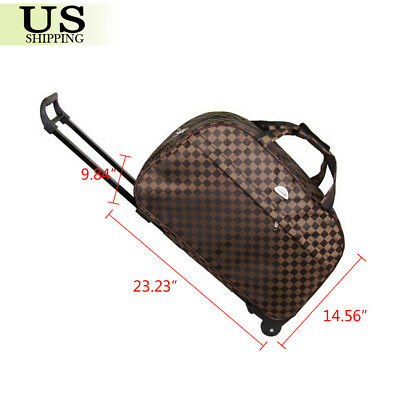 """24"""" Rolling Wheeled Duffle Trolley Bag Tote Carry On Travel Suitcase Luggage 2"""