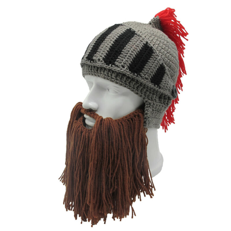 0fe5cf9a9c5 Roman Helmet Barbarian Knight Thermal Knit Beard Ski Mask With Winter Hat  Funny 4 4 of 7 ...
