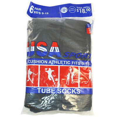 3,6,12 Pairs Men Athletic Sports Cotton Tube Socks Size 9-15 White Black Gray 4