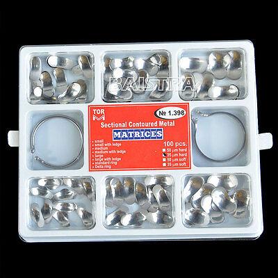 1 Pk Dental Lab Sectional Contoured Metal Matrices 35 μm 100Pcs/Pack & 2 Rings 10