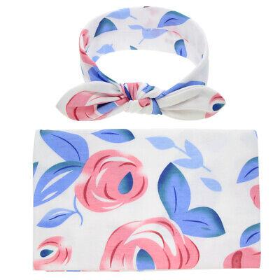 Blue Newborn Baby Boys Girls Blanket Swaddle Wrap Sleeping Bag + Headband Sets 7