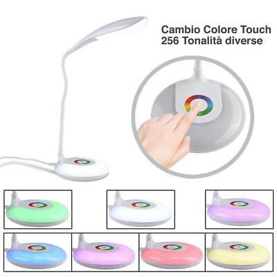 Lampada da Scrivania Tavolo LED Touch con Base Luce Notturna Cambio Colore RGB 4