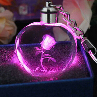 Faddish Fairy Crystal Rose LED Light Keychain Love Heart Key Chain Ring Keyring 5