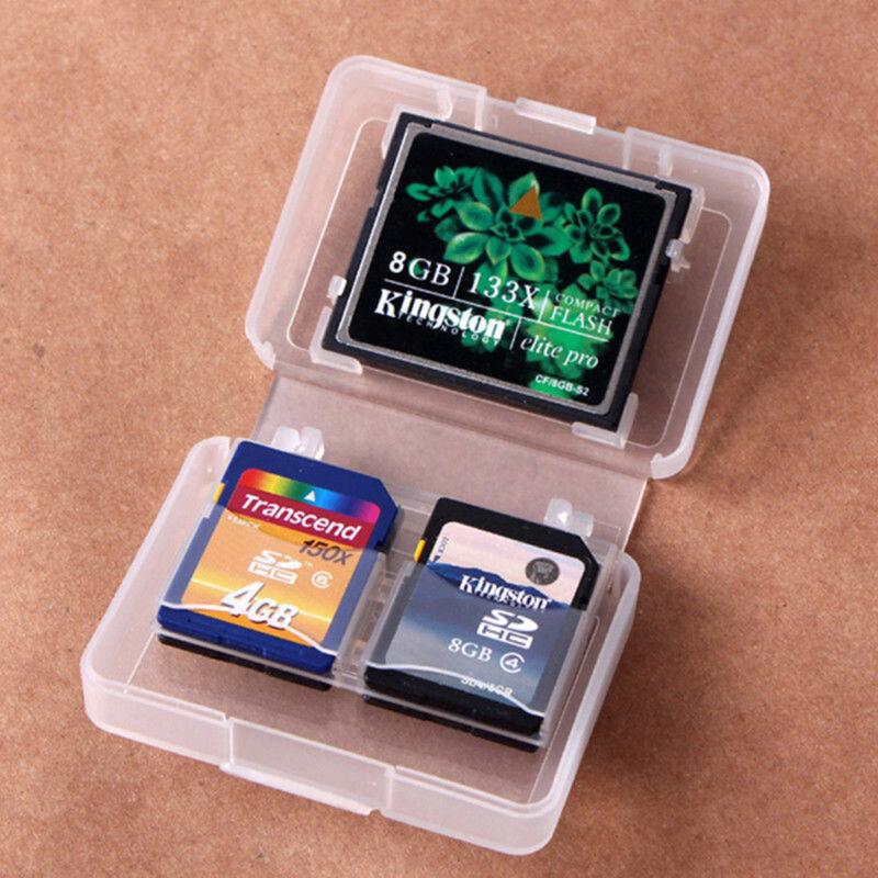 CF SD Card Compact Flash Memory Card Holder Box Storage Transparent Plastic Case