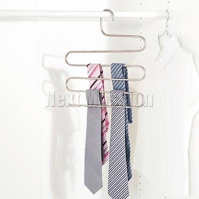 1-10pcs Pants Clothes Hangers Trousers S Type Layer Holder Scarf Tie Towel Rack 6