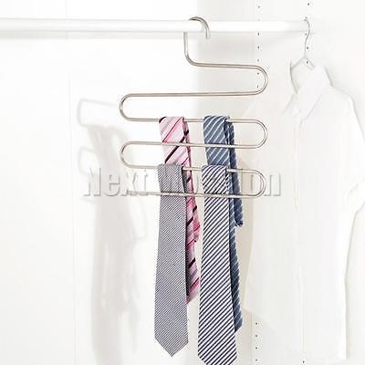 1-10pcs Pants Hangers Trousers S Type Layer Holder Scarf Tie Towel Rack Multi AU 6